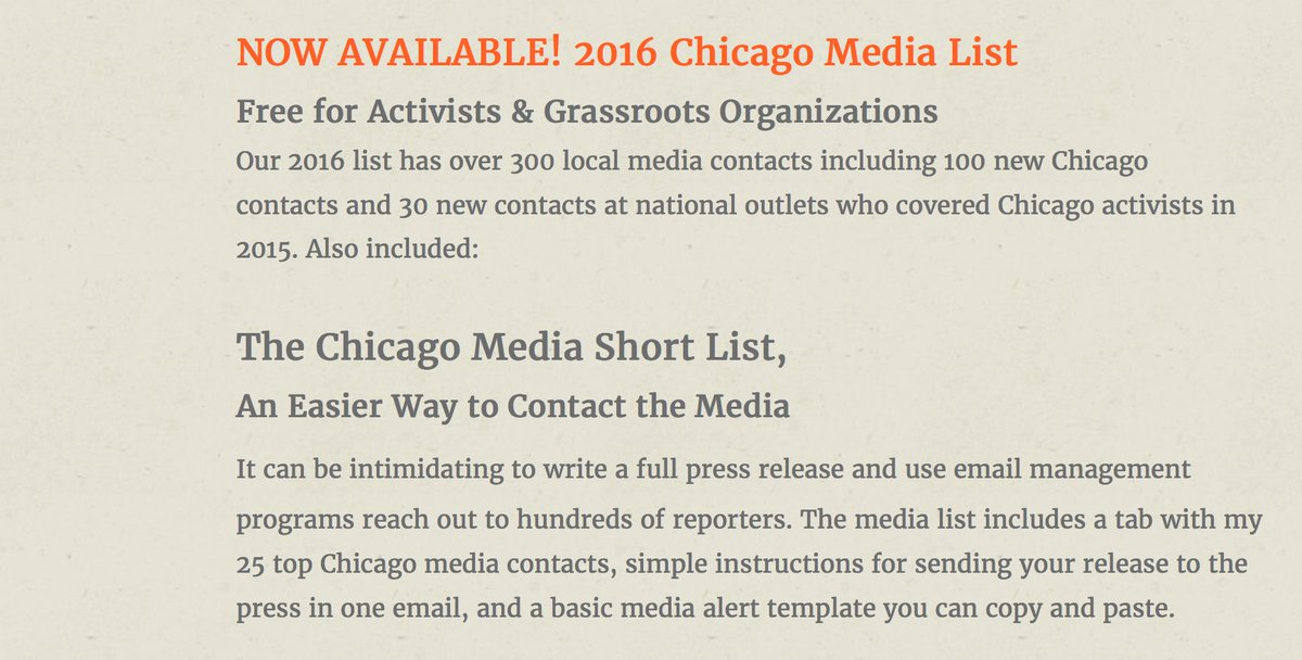 Media Alert Template | Rachael Perrotta On Twitter The 2016 Chicago Media List