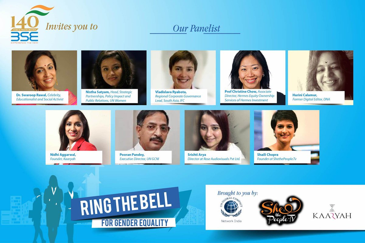 Looking forward to our panel thanks to @unwomenindia @SheThePeopleTV for #IWD2016 #WomensDay @BSEIndia https://t.co/VX7JmUHn2C