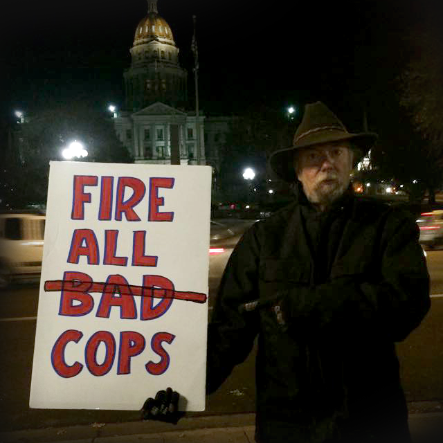 Occupy leftist radical Martin Wirth anti-cop sign
