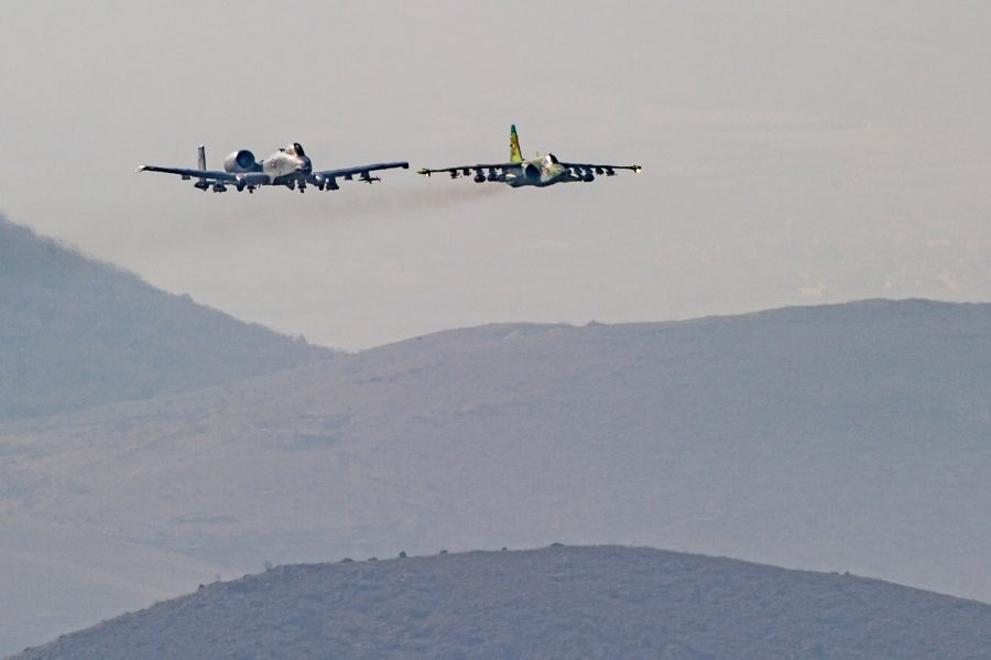 'Hogs' and 'Frogs' ready to join forces: USAF A-10Cs and Bulgarian Su-25Ks fly together