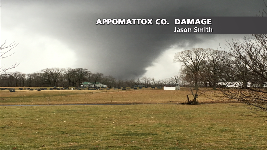 This is the view of the rare February tornado that hit Appomattox Co Wednesday (Jason Smith) https://t.co/H5tKqfHBpB
