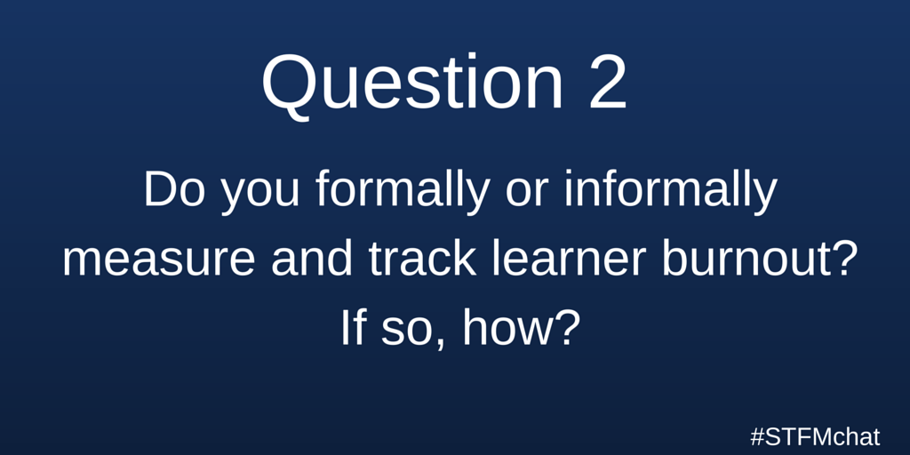 Q2. Do you formally or informally measure and track learner burnout? If so, how? #stfmchat https://t.co/GfNicdjAP1