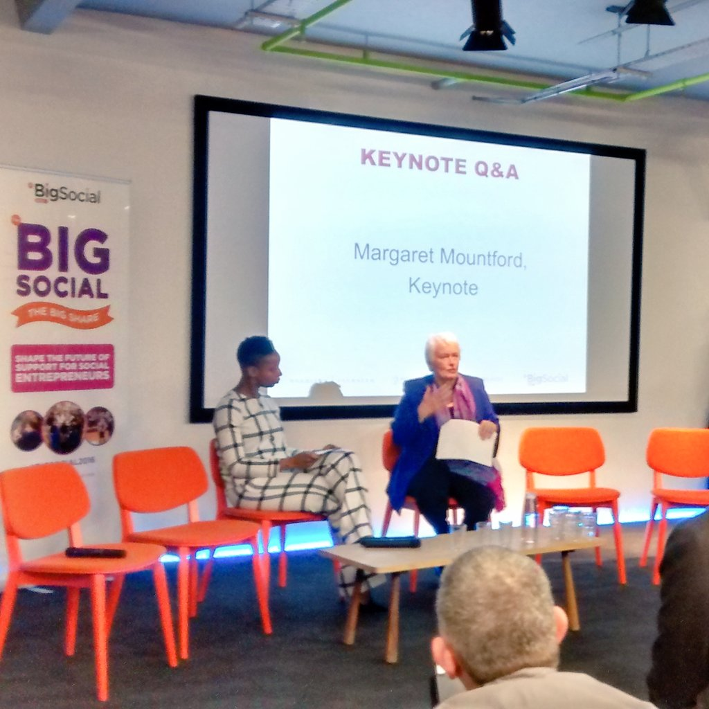 Great opener at #BigSocial2016 - Margaret Mountford challenges the need for the term 'social entrepreneurship'! https://t.co/K19D3ACLRo