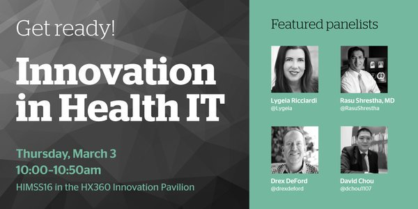 Get ready for @Mandibpro! I plan to challenge our panelists >> #HITsm will be LIVE #HIMSS16 https://t.co/tqjiOBn314 https://t.co/682iXzA02h