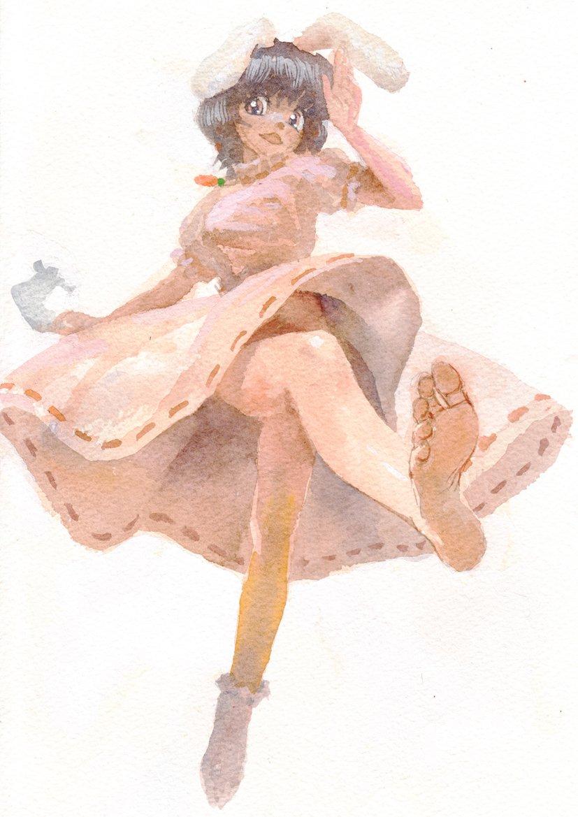 東方 アナログ 水彩、一時間でてゐ #深夜の真剣お絵描き60分一本勝負 安心してください 履いてますよ(靴下)