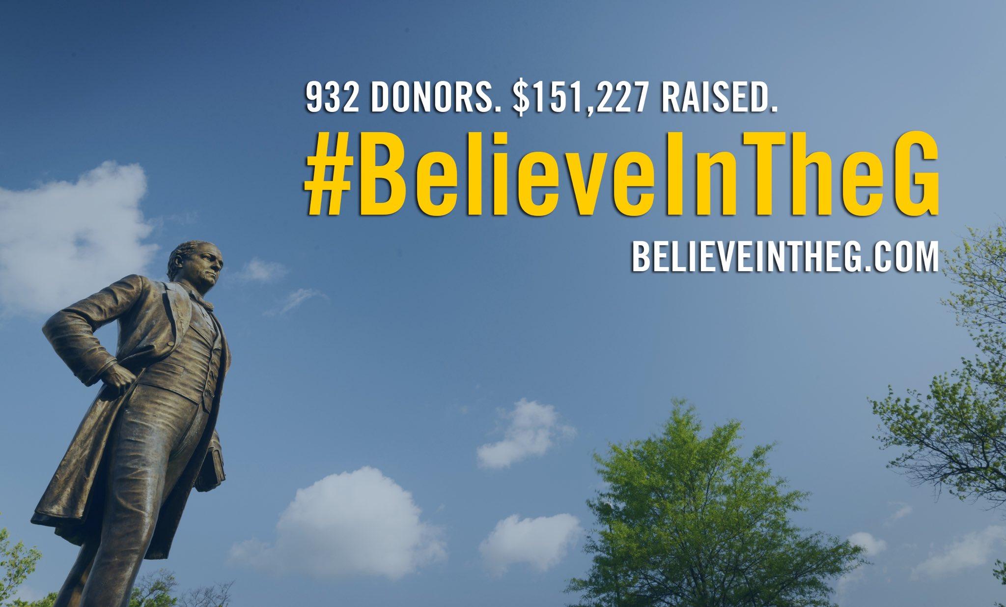 We did it! Third annual #BelieveInTheG campaign exceeds expectations. 💙💛 https://t.co/TTH8C808No #dsba https://t.co/3KIWZUp1La