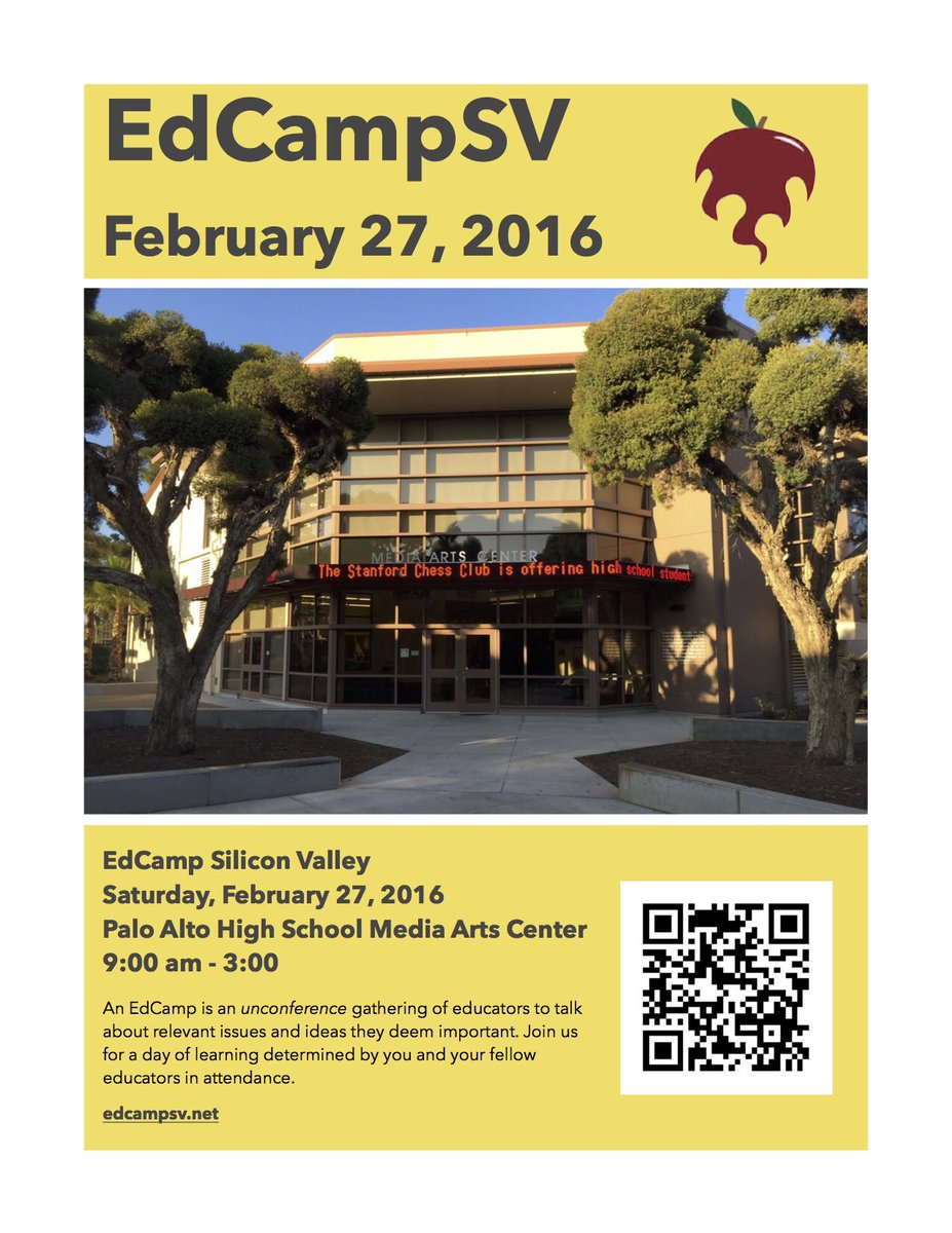 Looking fwd 2Sat!! Org comm worked so hard-- proud 2have been a part. Excited 2see the outcome! #edcamp #edcampsv https://t.co/lec9n2V1tt