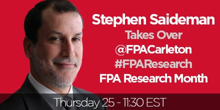 War in AFGN: Success or Failure? @smsaideman takes questions @fpacarleton #TwitterTakeover in one hour! #FPAResearch https://t.co/VSWjpRafWX