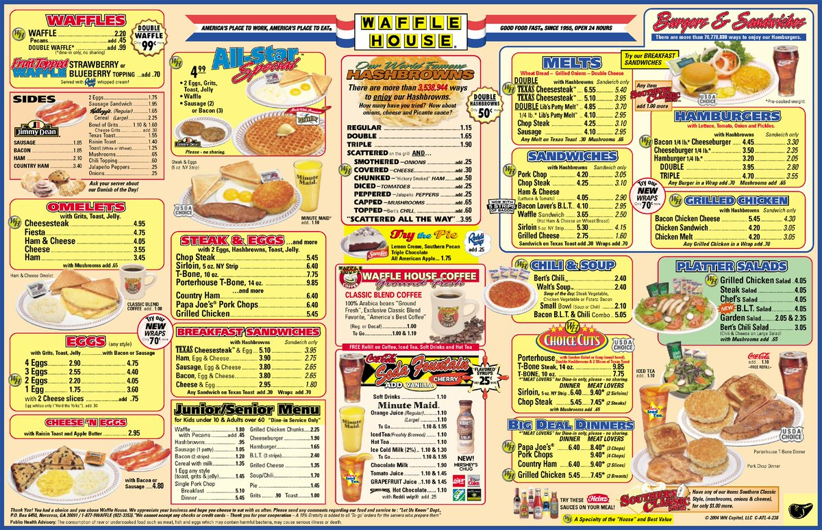"Waffle House On Twitter: ""#TBT Look At That Old Menu! Can"