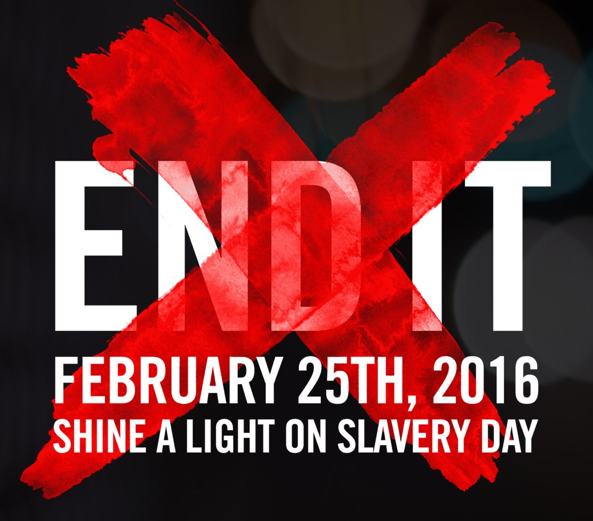 It's Shine A Light On Slavery Day: we're in it to END IT!. Draw an ❌on your hand & post it using #enditmovement https://t.co/ojVknx36if