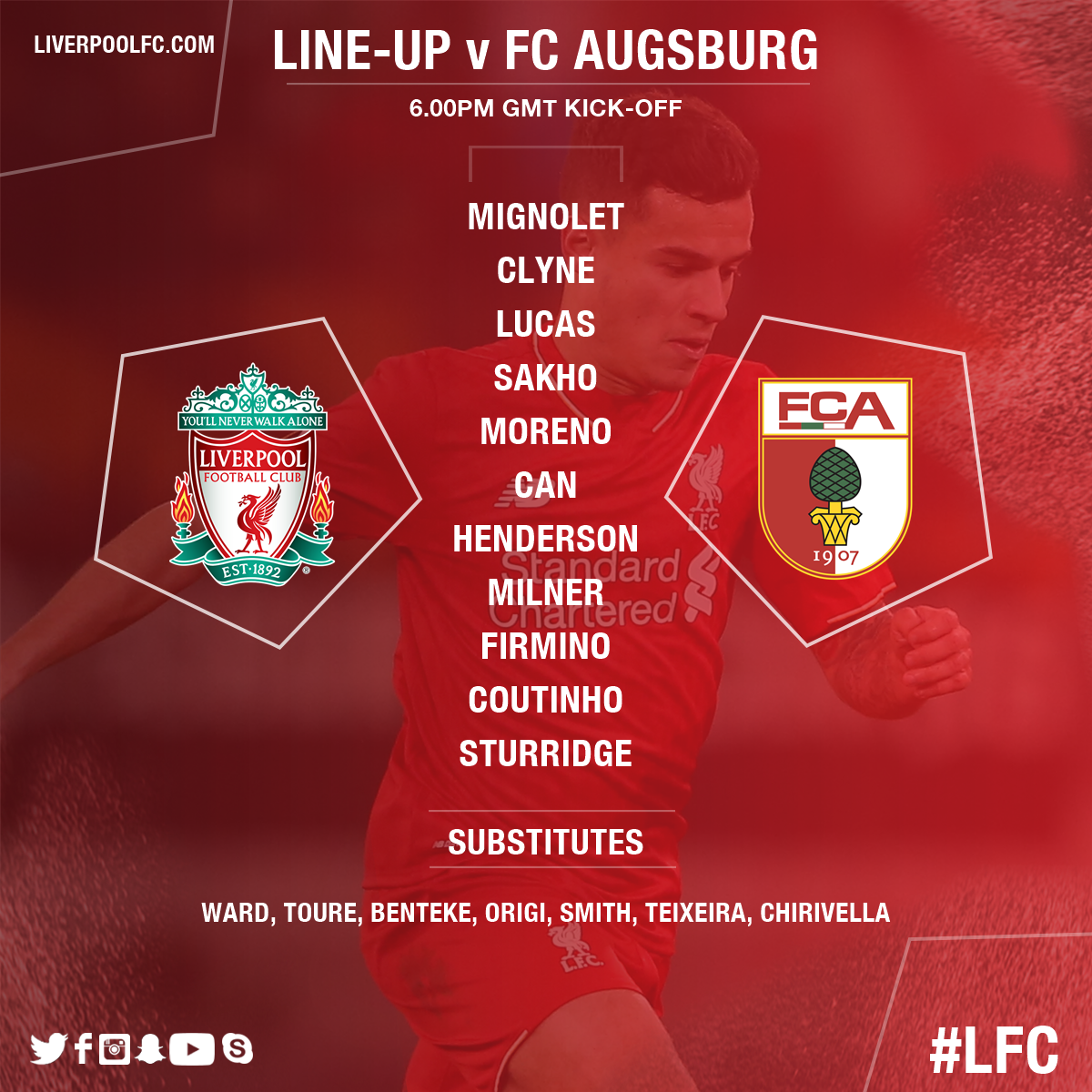 Liverpool vs Augsburg  CcExfkIW0AACdGL