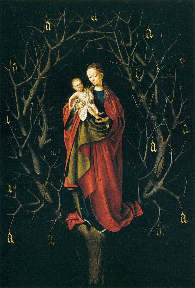 Another Petrus Christus which I came across at @museothyssen in Madrid.  Our Lady of the Dry Tree painted c.1450 https://t.co/gWf0I2HTnz