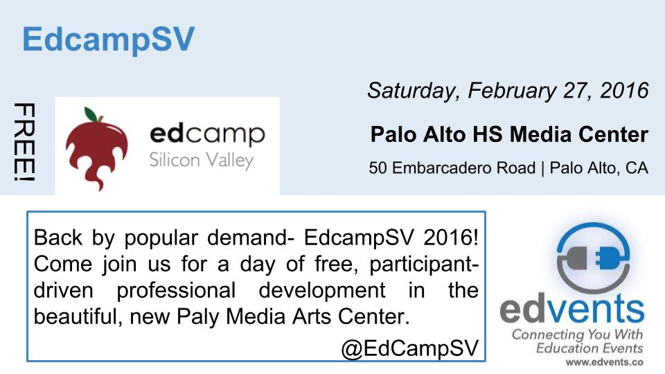 Who's excited for @EdCampSV Feb 27? Follow their #edcamp sharing from home at #EdCampSV https://t.co/XgvIdqRDmS https://t.co/7mfHoFaIwW