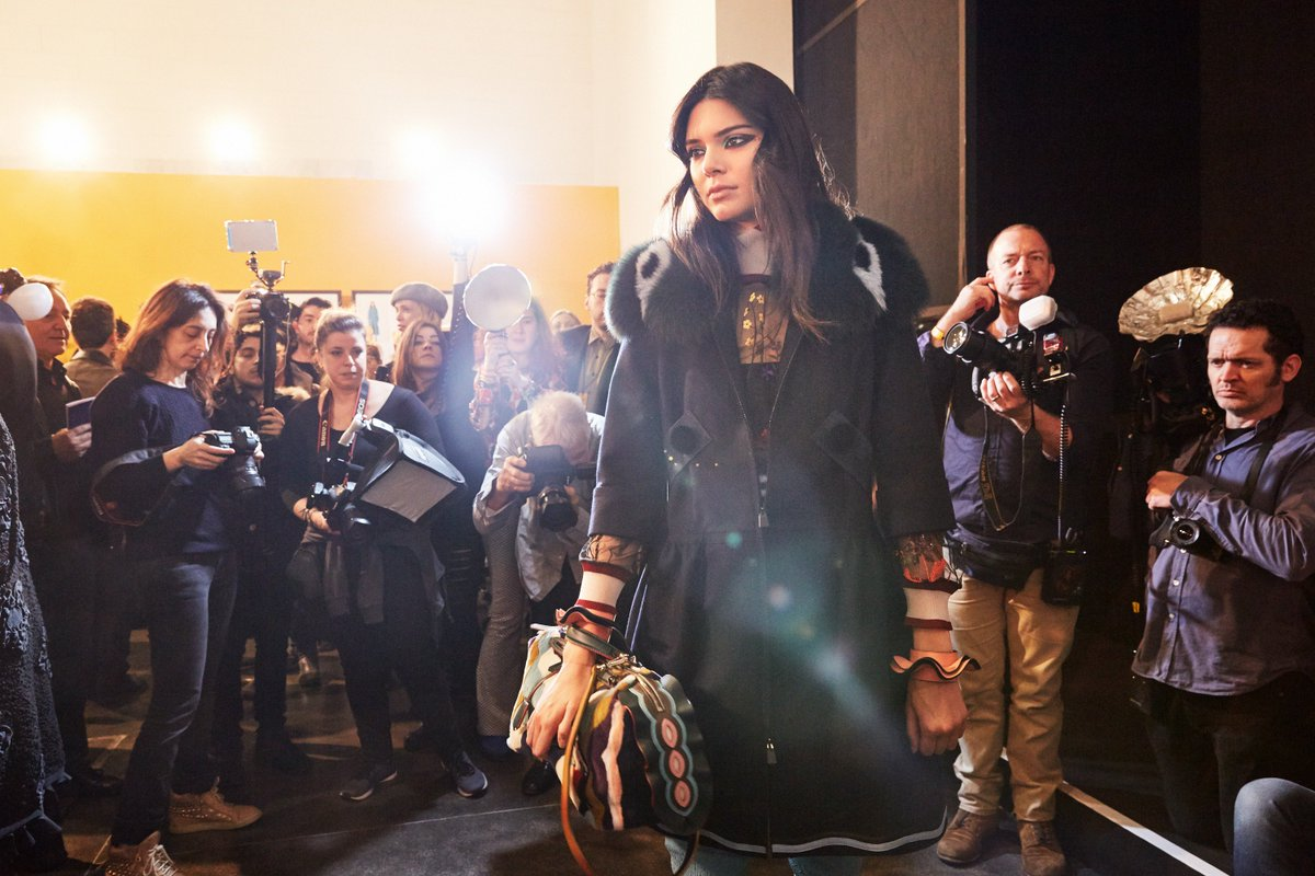 Opening the show @KendallJenner was captured in the #FendiFW16 backstage earlier today! #mfw