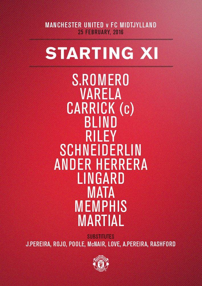 #mufc XI: S.Romero; Varela, Carrick, Blind, Riley; Schneiderlin, Ander Herrera; Lingard, Mata, Memphis; Martial.