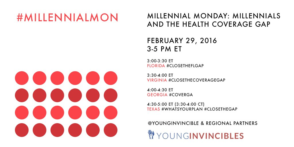 Join us for a special #MillennialMon on 02/29 w/ back-to-back coverage gap chats in FL, VA, GA & TX from 3-5pm ET. https://t.co/fxjO19gDoC