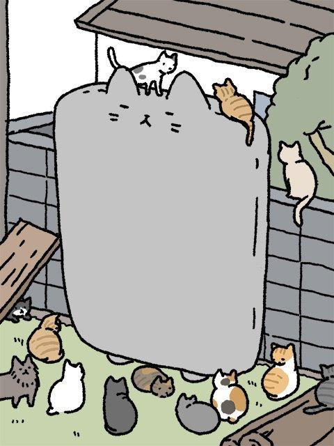 Pandania On Twitter ねこようかい 猫の集会とぬりかべ イラスト