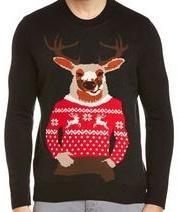 セーターにかいてある鹿が着ているセーターのほうがいいセーターのセーター