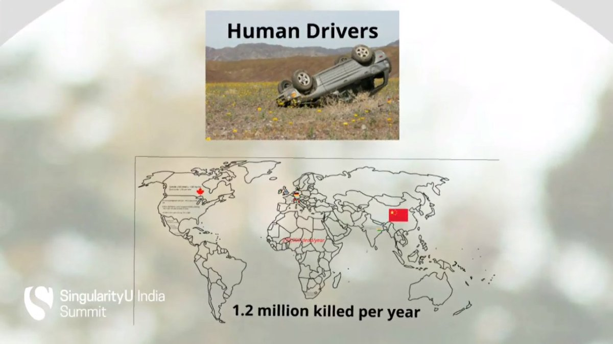 """Every year around the world human driving is killing 1.2 million people"" reveals @bradtem #SUIndiaSummit https://t.co/RsjwxGeQFQ"