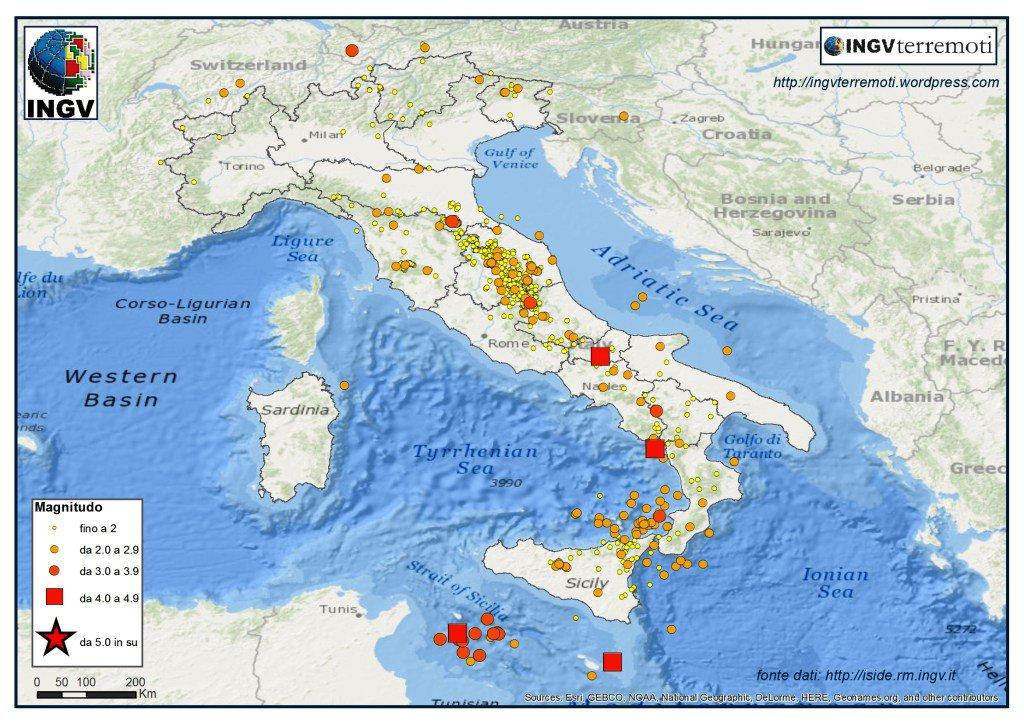 Terremoti in Italia, l'analisi di INGV per gennaio 2016