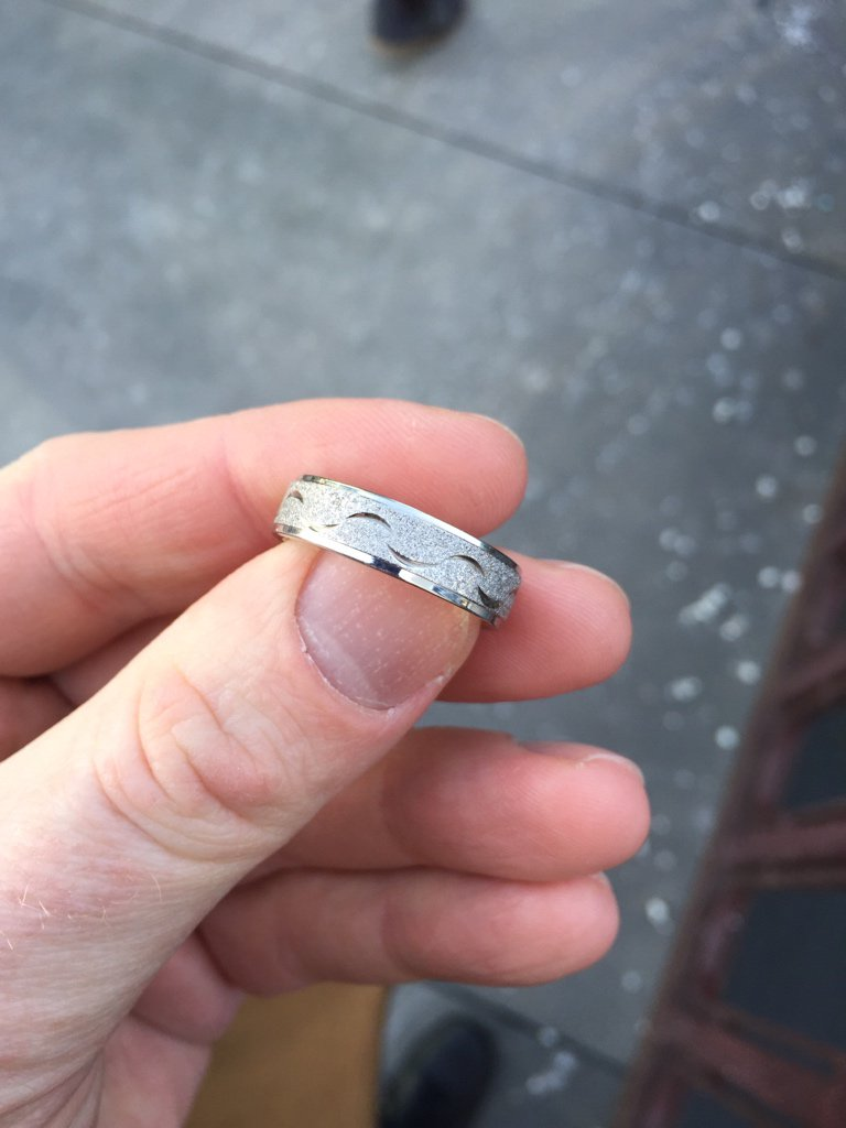 Walking by the Quincy brown line stop a wedding band fell out of the sky in front of me. Unsure what to do with it. https://t.co/LkhyZSr49l