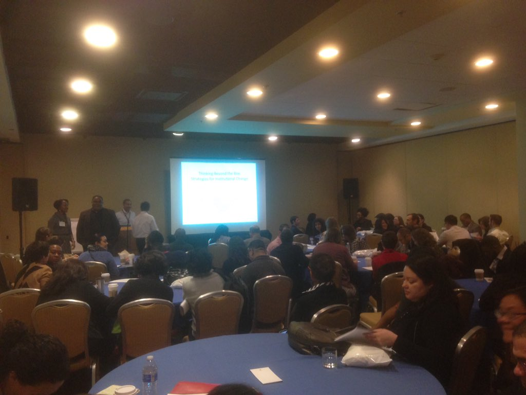"""Standing room only 4 """"Thinking Beyond the Box Strategies 4 Inst Change"""" w/Penn, Black, Mayes & Lee #interventions16 https://t.co/86fPwSDbha"""