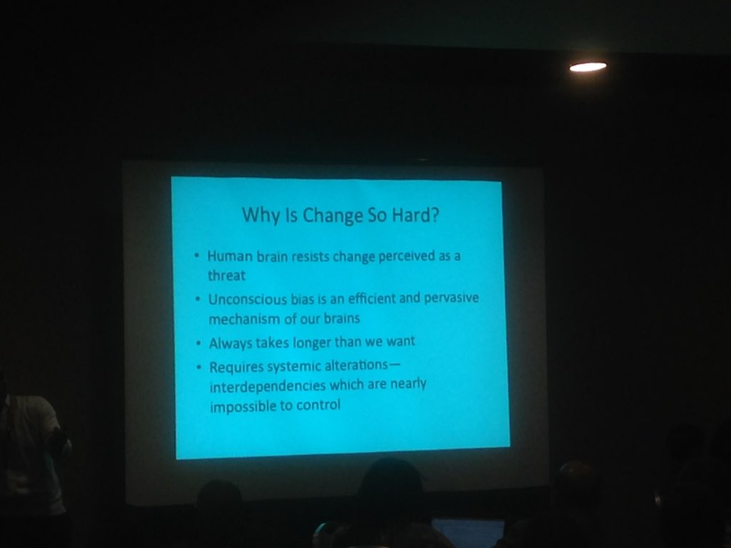 Penn: why is change hard? The brain loves simplicity and repetition --> initial response to resist #interventions16 https://t.co/14d4Fz3JK7
