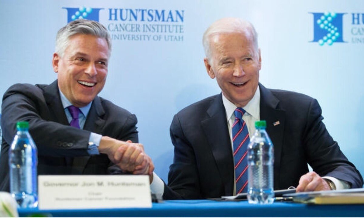Honor to host @JoeBiden in Utah to talk cancer cures @huntsmancancer. No politics, just lifting the human condition. https://t.co/0hxq5kwE9p