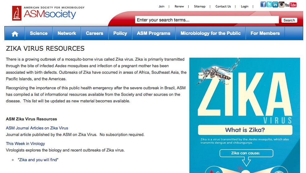 Recursos sobre el #Zika en la ASM American Society for Microbiology #microMOOC https://t.co/31xQ0Ses2Q https://t.co/paZRU1Po5B