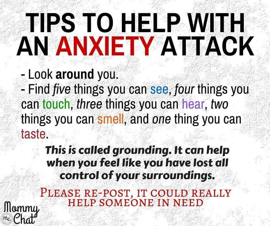 Tips to help with an anxiety attack. https://t.co/71XPZOJteX