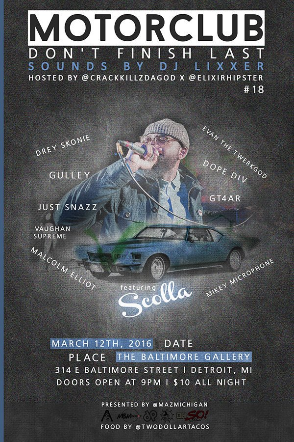 #Motorclub18 w/ @Scolla313 @evanthetwerkgod+ March 12 Hosted by @CrackKillzDaGOD x @ElixirHipster Sounds x @DJLiXxer https://t.co/UoMXhwNwNj