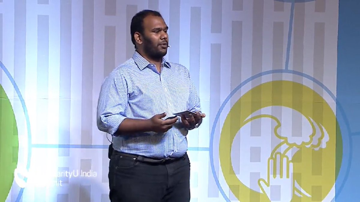Up on stage now is @sandeshrddy to talk about Caper, an app to help you find new food #SUIndiaSummit https://t.co/13cpo35d4S