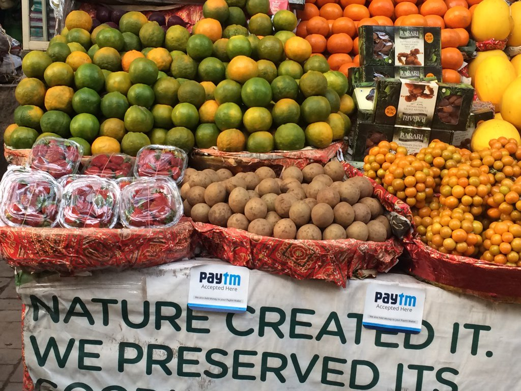 Paying via @paytm at local grocery shop