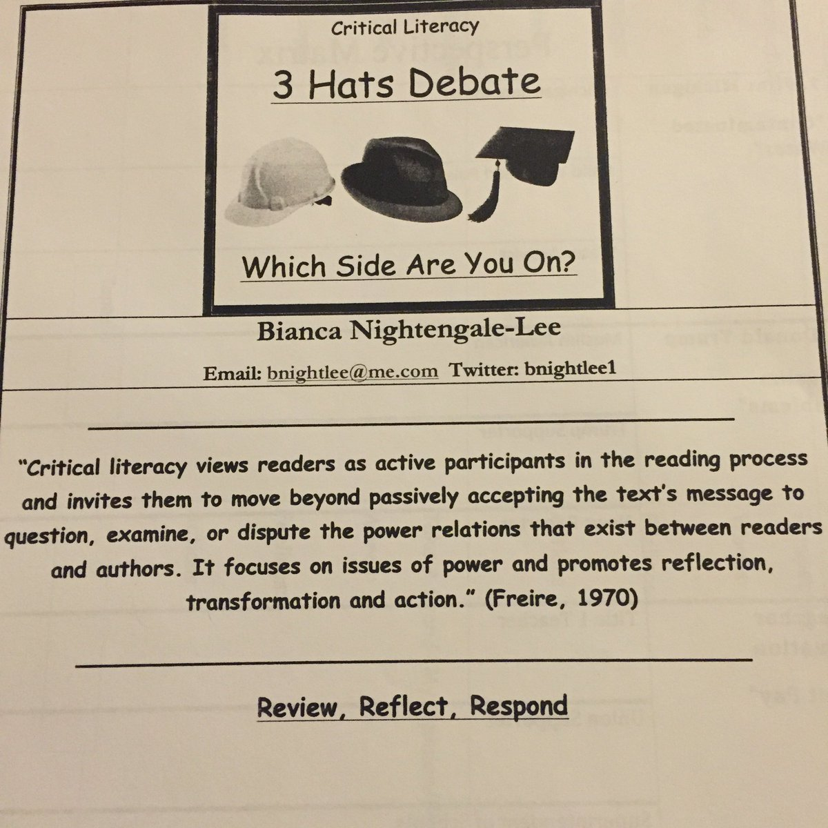 Today lets discuss the 3 Hats Debate critical literacy@KCTE_LA which side are you on?#kcte2016 https://t.co/8hW21H0MMa