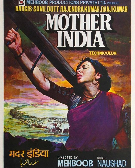 Original vintage #Bollywood movie poster of the epic Hindi film, #MotherIndia (1957)