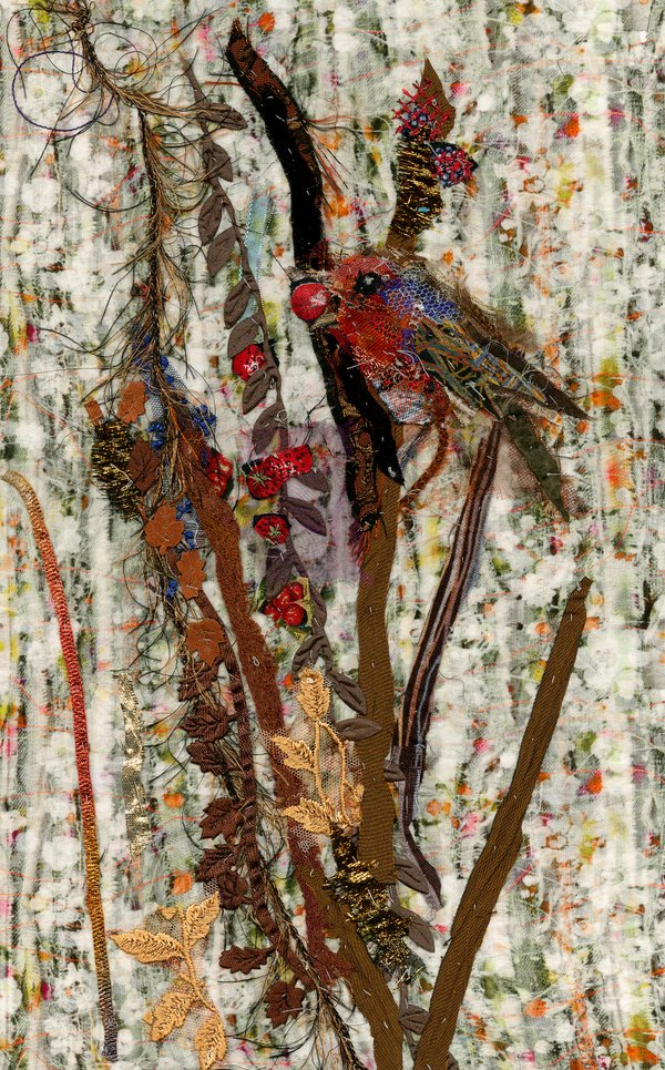 """Robin and Berries"" 15 x 20"" hand stitched textiles by @art_in_textiles #TwitterFirstFriday https://t.co/rj1WzfQzvS https://t.co/kL2eQxJDip"