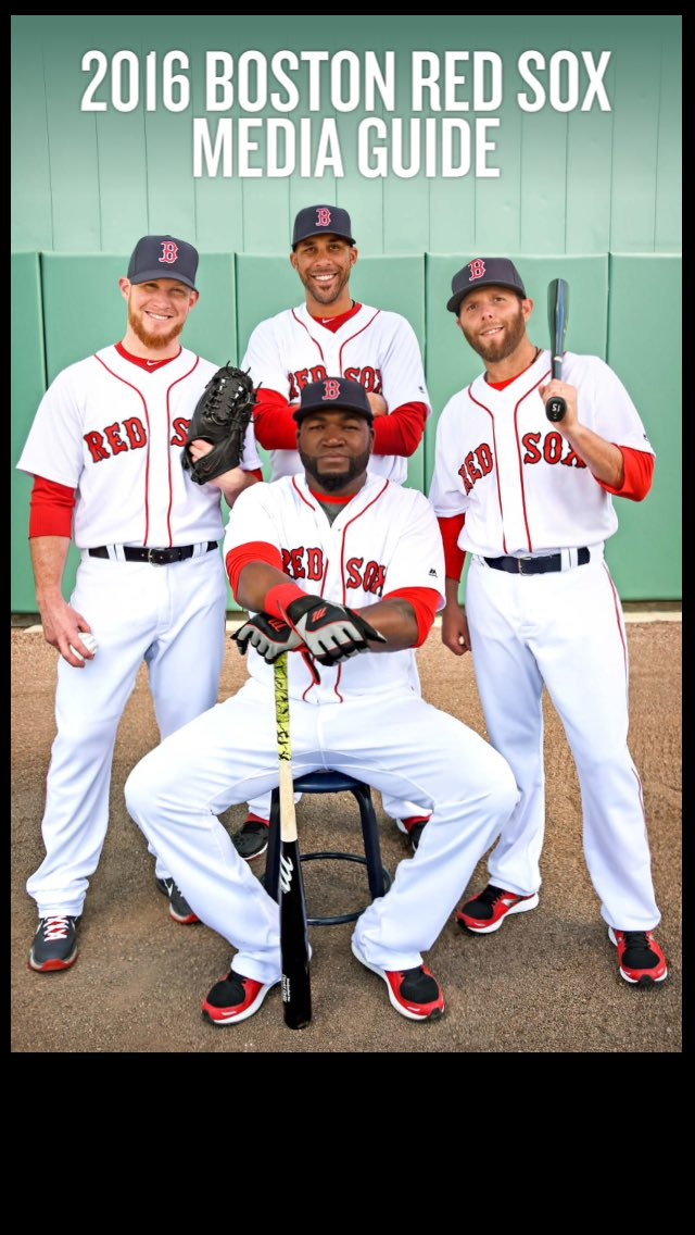 The cover of the Red Sox media guide, 2016 edition. https://t.co/j0WriJOtyT