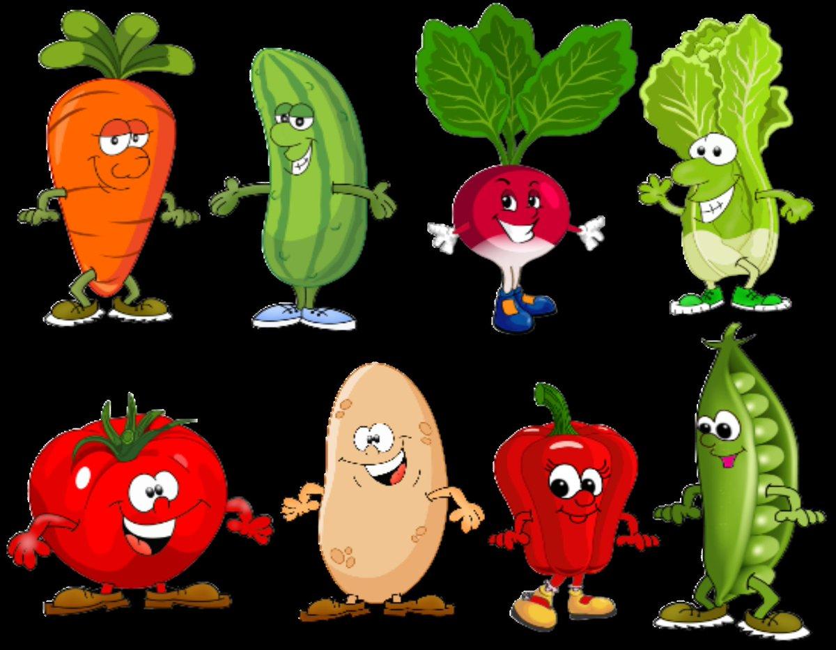 Мультяшные картинки овощей для детей