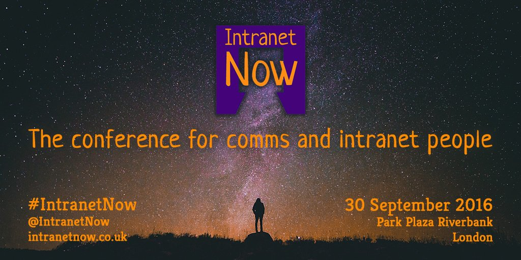 The #IntranetNow conference is at the end of September: https://t.co/QifBDJPvMQ https://t.co/BtIVZ61RLo