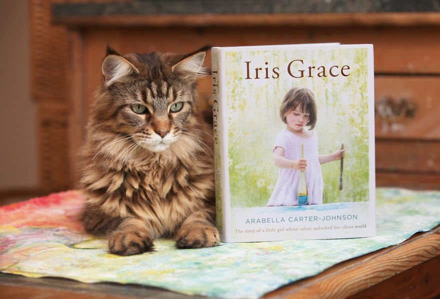 Cat and Book Iris Grace