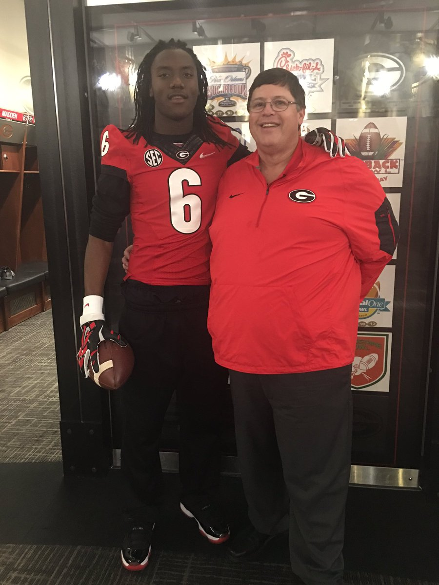 Heard County, GA 2018 dual-threat QB Emory Jones  (on left) with UGA OC Jim Chaney (on right)  (photo Emory Jones  / Twitter)