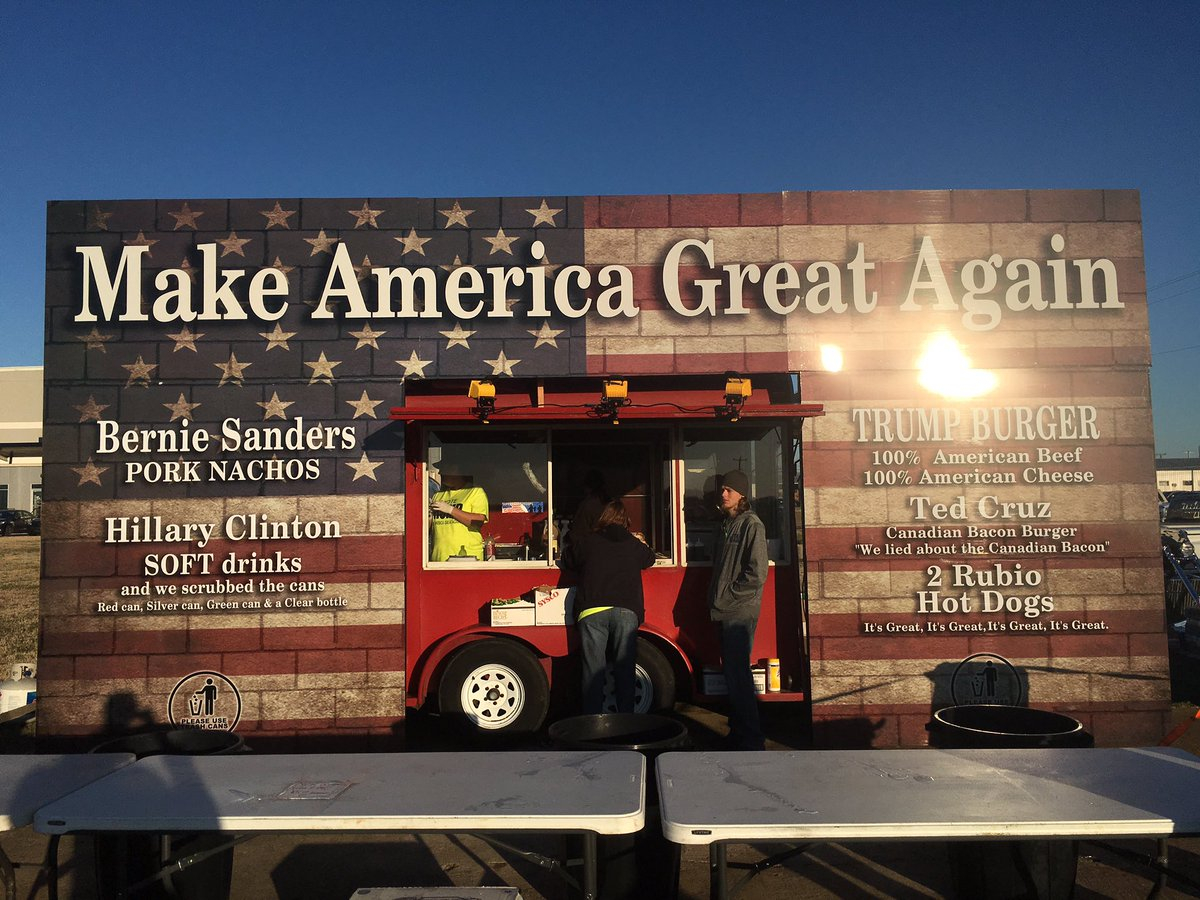 Food truck at Donald Trump rally in Millington, TN. The Trump burger is 100% American beef and 100% American cheese https://t.co/rVi7bHYAU9