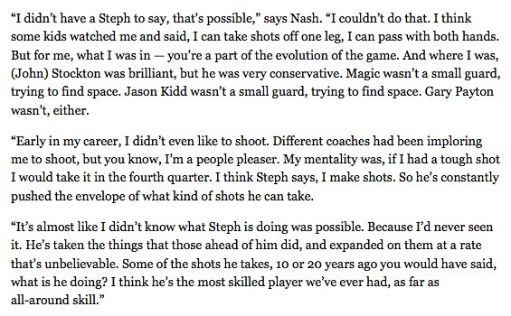 I am reminded of @SteveNash on Steph Curry: https://t.co/qQOZhwToud https://t.co/VwcwpfLVte