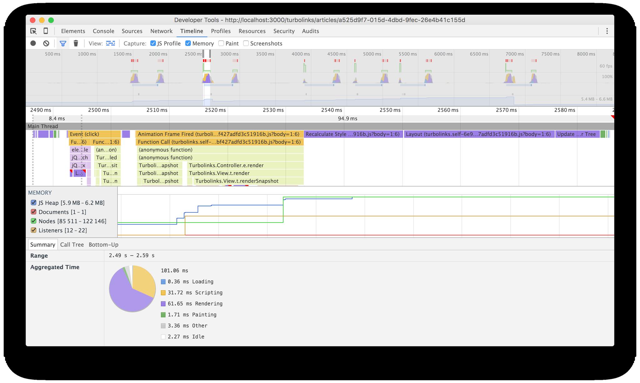 Turbolinks timeline screenshot