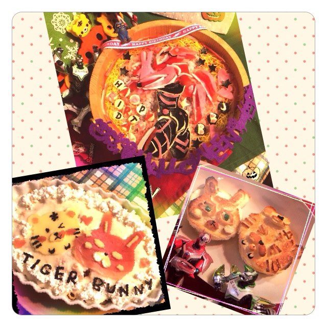 #タイバニ文化祭  #タイバニ料理部 写真あった~ ψ(<//>×<//>)◉(≡・∞・≡)ψ  バ肉まんはもうどうやって作ったか覚えてない;;バニ~ちゃんのお誕生日チラシ寿司のごはんはシマシマぱんつ柄米なんです〜^^