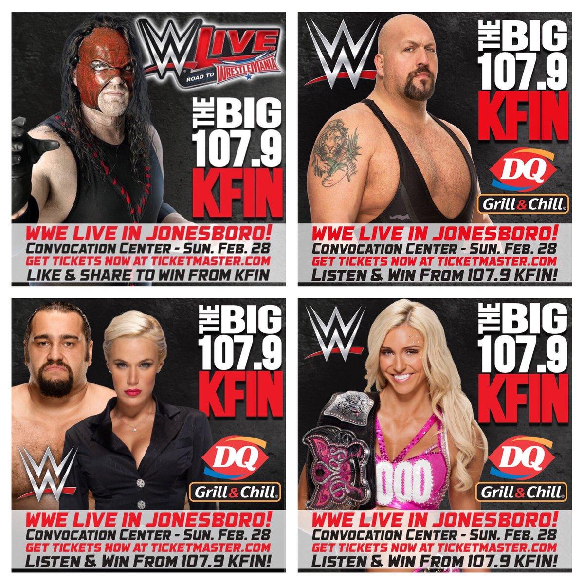#KFIN Country, #WWEJonesboro is tonight @asuconvo! Bell time is 5PM. Tix: https://t.co/DRrskuK4qq #BB1079 @1079KFIN https://t.co/ViZdUH8kTK