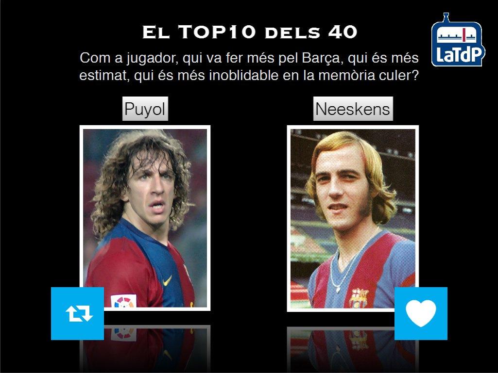 El TOP 10 dels 40 de @mariusserra  Podeu votar durant la 2a part RT - Puyol FAV - Neeskens https://t.co/Sdajj4mJyq