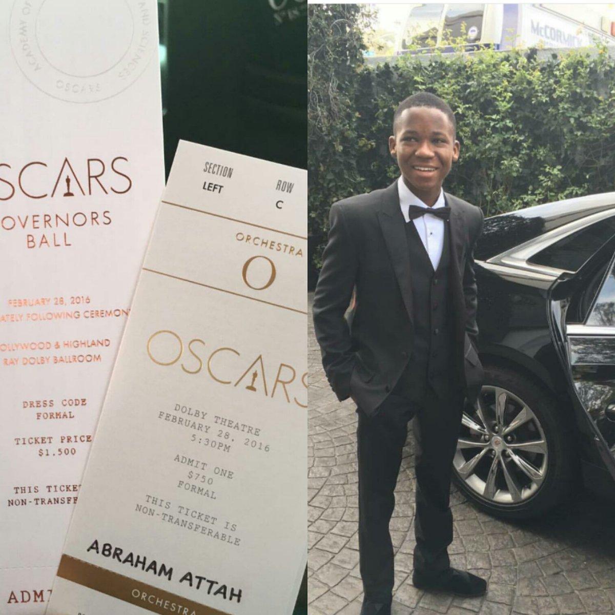 Ghana's Abraham Attah  to present an award at #Oscars tonight #Oscars2016 #OscarsSoWhite https://t.co/6RVCQqWbky