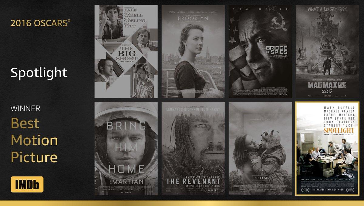 Best Motion Picture goes to ... #Spotlight https://t.co/71Fvl6u39e  #IMDbOscars #Oscars