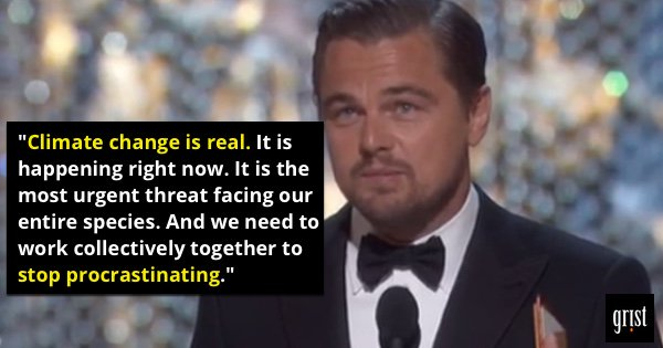 ".@LeoDiCaprio calls #climatechange the world's most ""urgent threat."" Smart guy. #Oscars https://t.co/ZkTl8NNYtP"